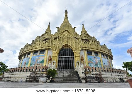 Golden pagoda famous places land mark in Mong La Myanmar's Sin City shan state myanmar.
