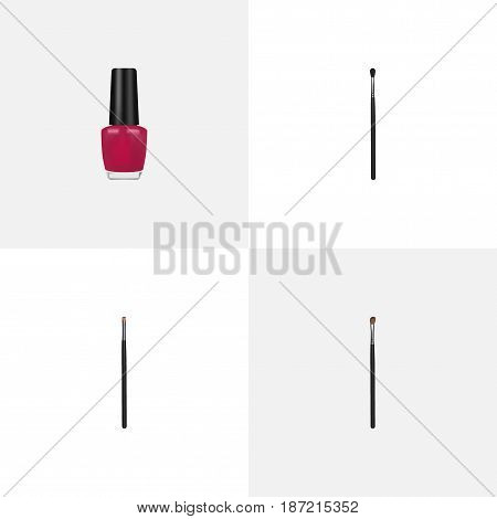 Realistic Contour Style Kit, Make-Up Product, Eye Paintbrush And Other Vector Elements. Set Of Cosmetics Realistic Symbols Also Includes Polish, Contour, Varnish Objects.