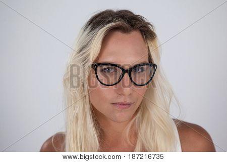 Beautiful transgender woman wearing eyeglasses