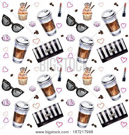 Watercolor seamless pattern with disposable cups of coffee cupcakes meringues clutch sunglasses lipstick and coffee beans. Hand painted illustration