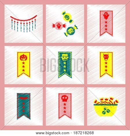 assembly flat shading style icon of halloween festivity garland candy