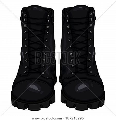Vector Cartoon Army Boots. High Military Shoes