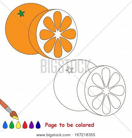 Orange and Half Slice to be colored, the coloring book for preschool kids with easy educational gaming level.