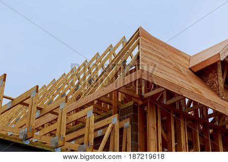 New house construction with frame New construction of a house Framed