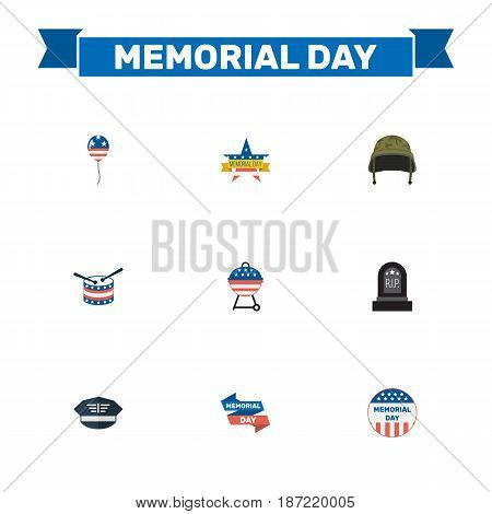 Flat Ribbon, Decoration, Usa Badge And Other Vector Elements. Set Of History Flat Symbols Also Includes Memorial, Banner, Helmet Objects.