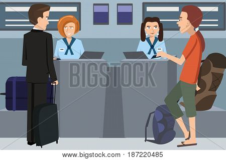 people checking in at the airline desk - funny cartoon vector illustration