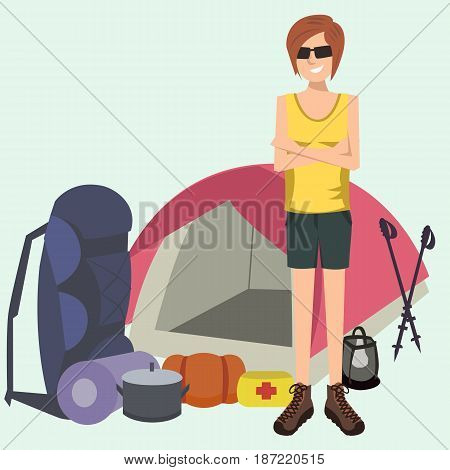 woman standing with camping and hiking gear - vector cartoon illustration
