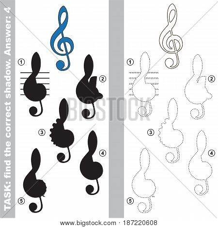 Treble Clef with different shadows to find the correct one, compare and connect object with it true shadow, the educational kid game with simple gaming level.