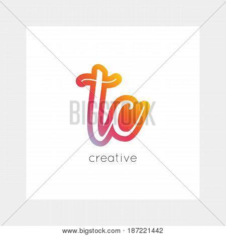 TC logo, vector. Useful as branding, app icon, alphabet combination, clip-art.