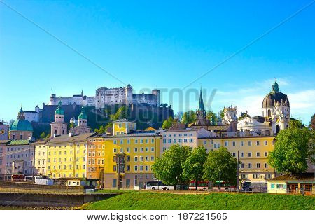 Beautiful view of Salzburg skyline with Festung Hohensalzburg in summer, Salzburg, Salzburger Land, Austria