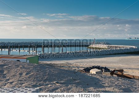 Construction of a port facility in Cadzand Holland on the North Sea