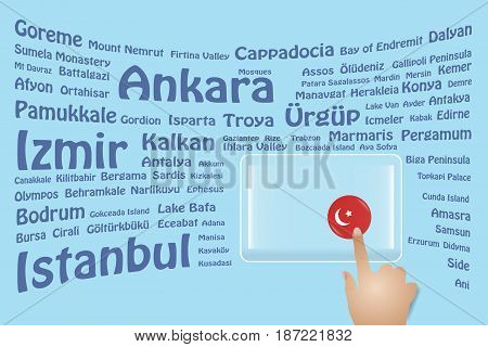 Hand is touching a round Turkish flag on a transparent screen. The blue bent names of the Turkish sights are in the background. Free place for your text is at the screen.