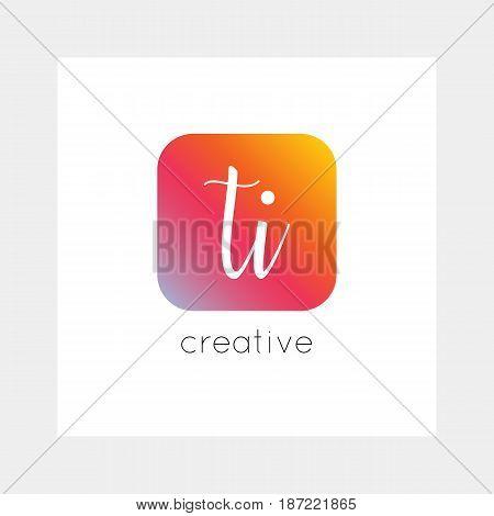 TI logo, vector. Useful as branding, app icon, alphabet combination, clip-art.