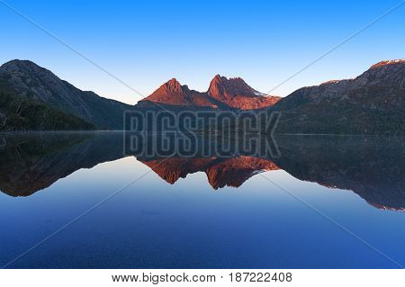 Cradle Mountain Landscape Perfectly Reflected In Lake Dove