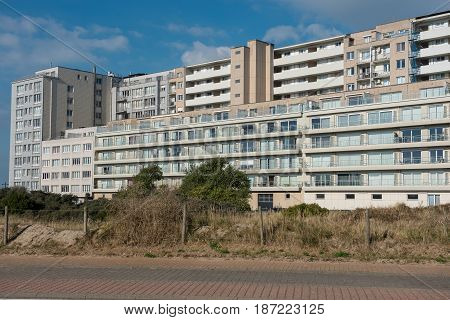 Architecture - Apartment houses in Belgium Flanders on the North Sea