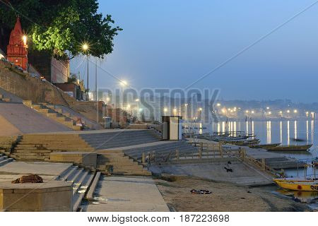 VARANASI, INDIA - May 3, 2017 : Landscape of Ganges river ghats taken on May 3, 2017 at Varanasi, India. Varanasi is one of the oldest living cities in the world & a major tourist destination