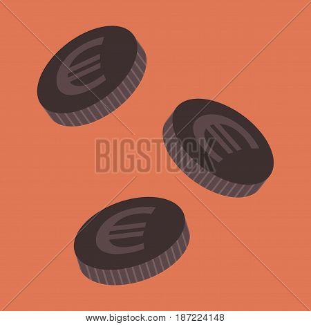 flat icon on stylish background Euro cents