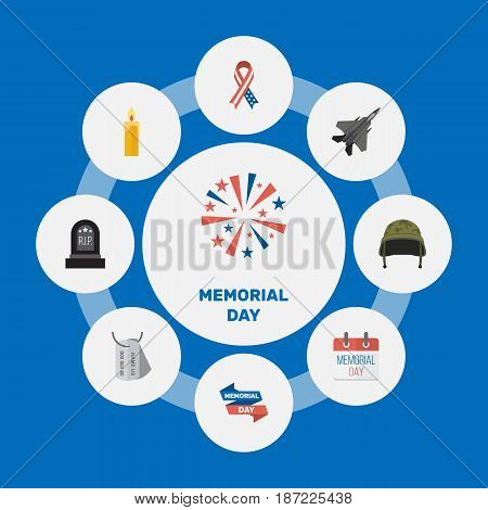 Flat Identity, Fire Wax, Ribbon And Other Vector Elements. Set Of Memorial Flat Symbols Also Includes Army, American, Tomb Objects.