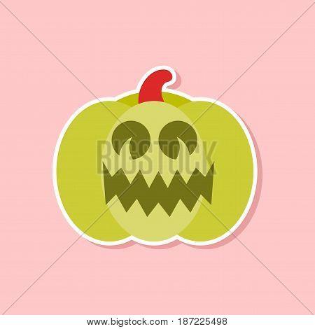 paper sticker on stylish background of halloween pumpkin