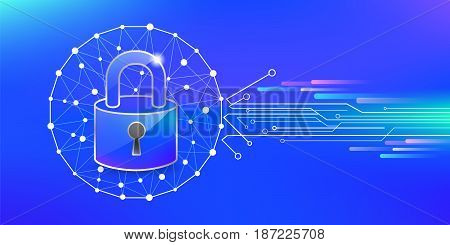 Cyber security protect online. Key code protection icon on data internet technology. vector illustration