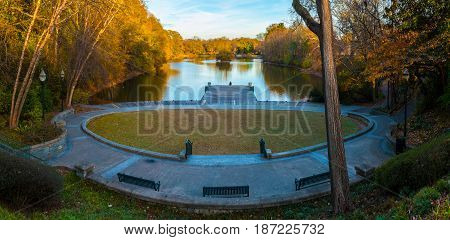Panoramic view of the Clara Meer Dock on the Lake Clara Meer in the Piedmont Park Atlanta USA