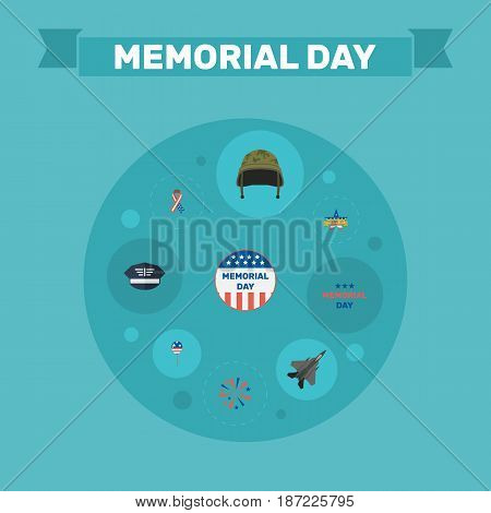 Flat Memorial Day, Aircraft, Decoration And Other Vector Elements. Set Of Day Flat Symbols Also Includes Mom, Hat, Decoration Objects.