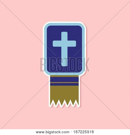 paper sticker on stylish background of Bible book