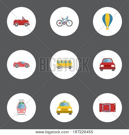 Flat Automobile, Transport, Cab And Other Vector Elements. Set Of Transport Flat Symbols Also Includes Cycle, Tram, Transport Objects.