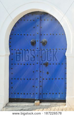 Arched Doorway with Blue Studded Door Africa North Africa Tunisia Sidi Bou Said