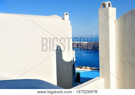 White architecture in Santorini island Cyclades Greece