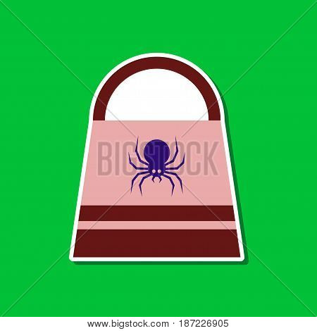 paper sticker on stylish background of halloween bag