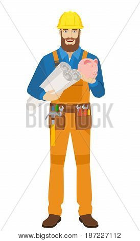 Worker holding the project plans and piggy bank. Full length portrait of worker character in a flat style. Vector illustration.