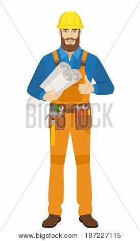 Worker holding the project plans and showing thumb up. Full length portrait of worker character in a flat style. Vector illustration.