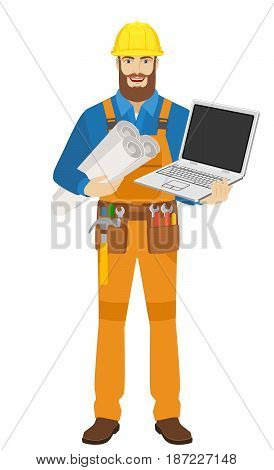 Worker with laptop notebook holding the project plans. Full length portrait of worker character in a flat style. Vector illustration.