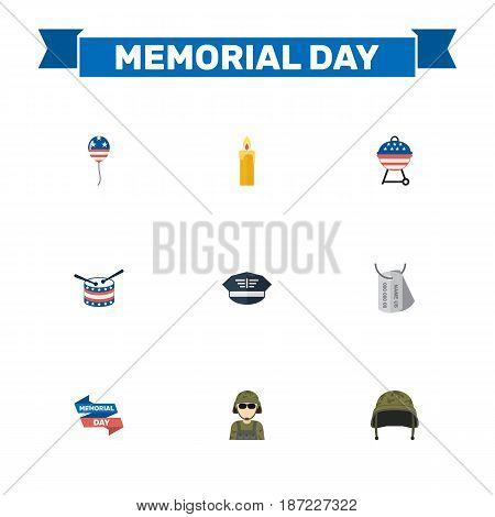 Flat Ribbon, Soldier Helmet, Fire Wax And Other Vector Elements. Set Of History Flat Symbols Also Includes Drum, Soldier, Barbecue Objects.