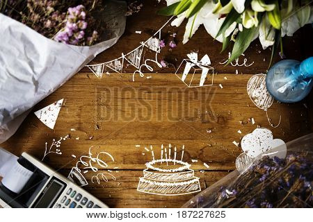 Celebration birthday party surprise events icon and word