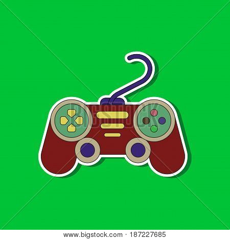 paper sticker on stylish background of game joystick