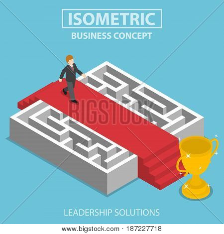 Isometric Businessman Walking On Red Carpet Over The Maze