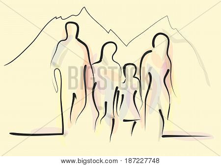 family hiking. abstract silhouette of four people