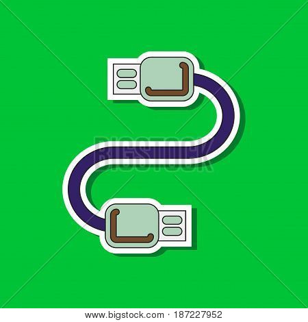 paper sticker on stylish background of usb cable