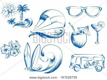 kite surfing. set of abstract summer icons