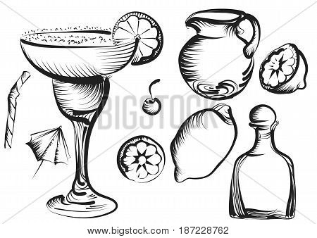 margarita set. Margarita Daiquiri cocktail set with lime cherry lemon