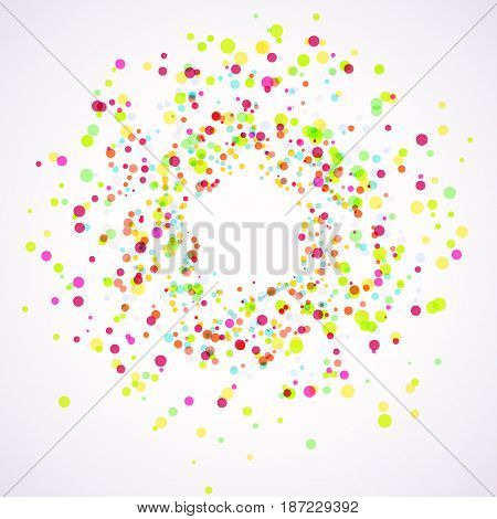 Bright colorful holi paint splatter layout. Festive color explosion. Particle burst abstract frame background template. Vector illustration