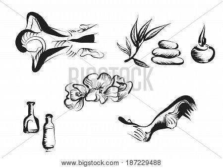 massage set. spa symbols isolated on white background