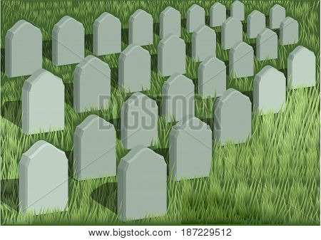 absreact grave yard and a green grass