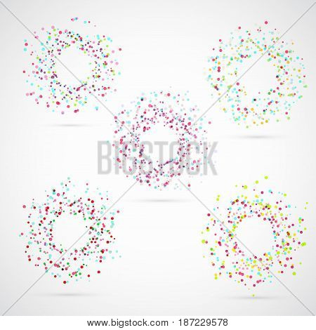 Bright colorful abstract circle templates. Festive color explosion burst abstract merry frame set. Vector illustration