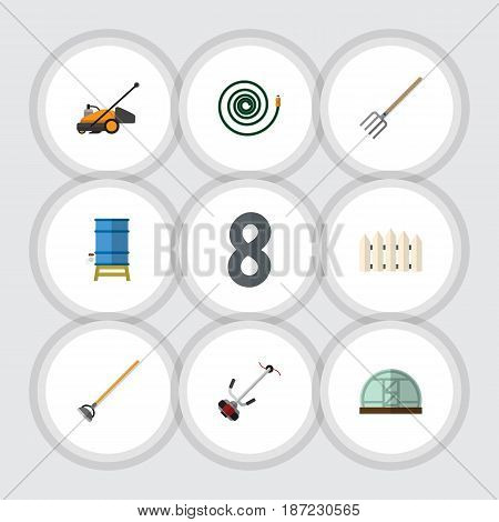 Flat Dacha Set Of Lawn Mower, Container, Hothouse And Other Vector Objects. Also Includes Water, Hothouse, Wooden Elements.