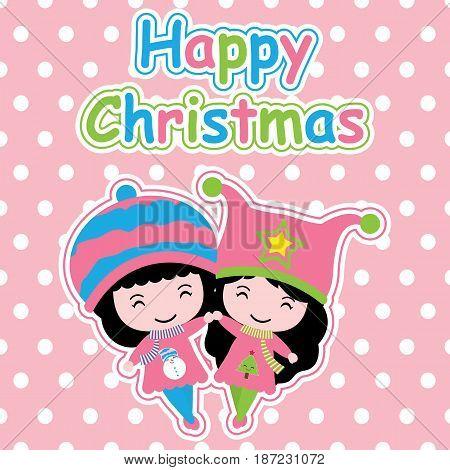 Cute girls on polka dot background vector cartoon, Xmas postcard, wallpaper, and greeting card, T-shirt design for kids