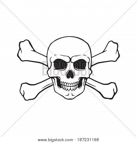 Vector illustration. Hand drawn doodle of skull Jolly Roger with crossbones behind. Danger warning sign. Cartoon sketch. Decoration for greeting cards, posters, emblems, wallpapers