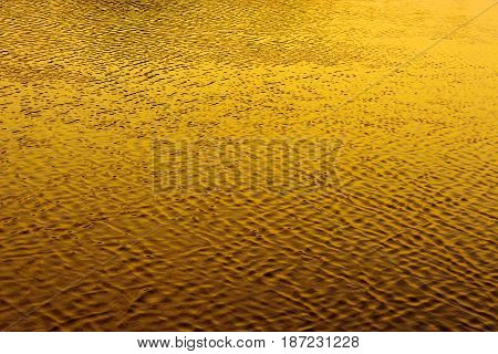 Water surface with ripples at sunset. Yellow texture.